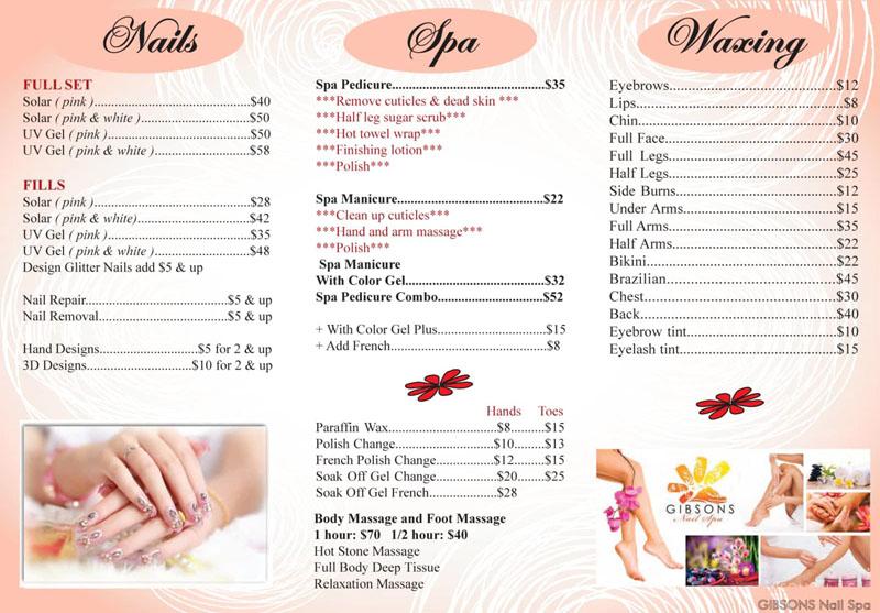 mẫu menu spa thiết kế đẹp