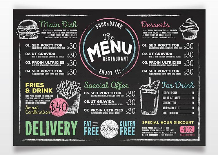 Mẫu menu quán cà phê dạng bảng đẹp