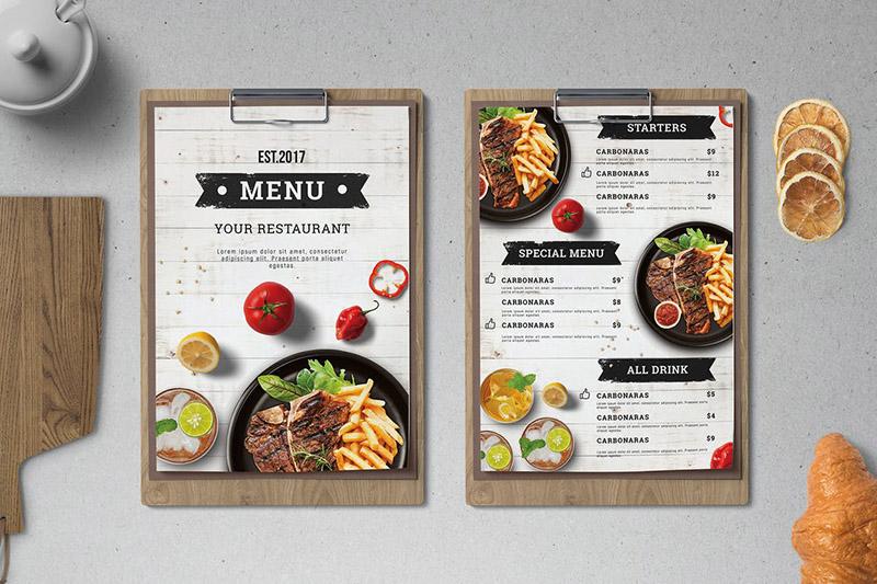 Mẫu menu nhà hàng theo yêu cầu