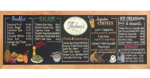 Mẫu menu quán cà phê dạng bảng