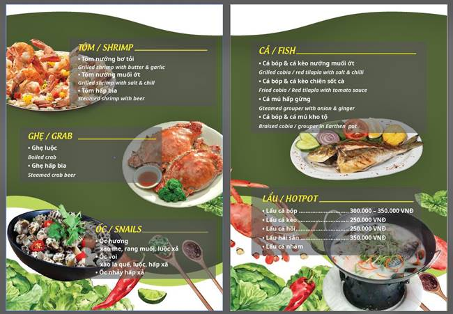 mẫu menu quán ăn đẹp