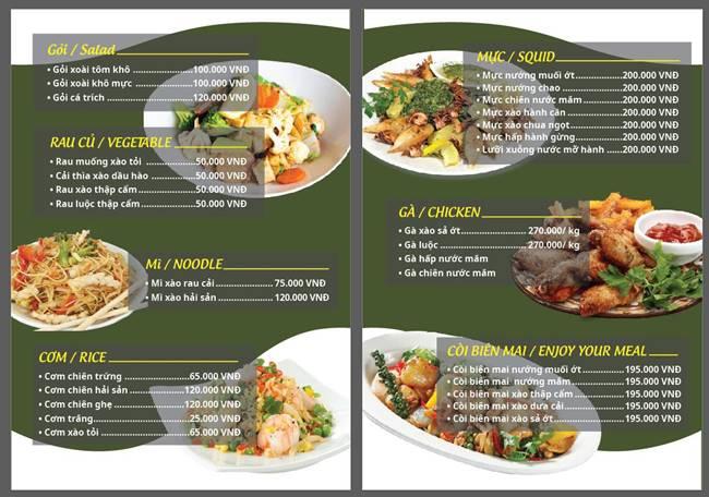 Mẫu menu nhà hàng bắt mắt