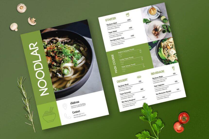 Mẫu menu nhà hàng thiết kế đẹp
