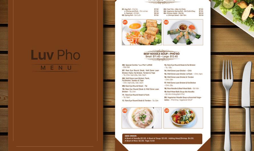 Một số mẫu menu nhà hàng đẹp, chuyên nghiệp hiện nay