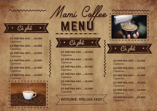 Thiết kế mẫu menu quán cà phê kiểu Vintage