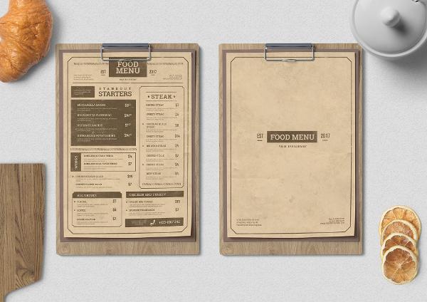Thiết kế mẫu menu quán cà phê kiểu Vintage đẹp