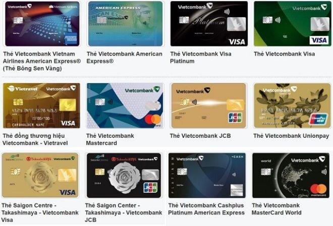 Các loại thẻ tín dụng Vietcombank