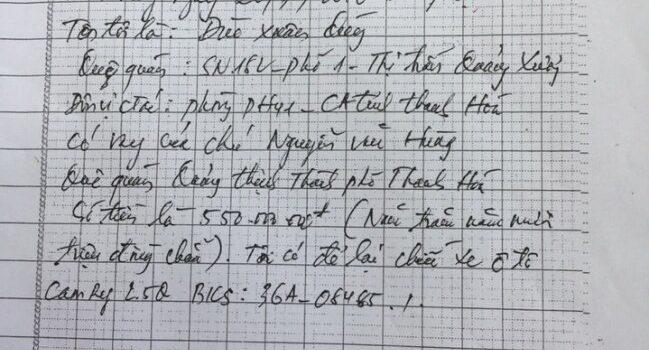 mẫu giấy vay nợ viết tay